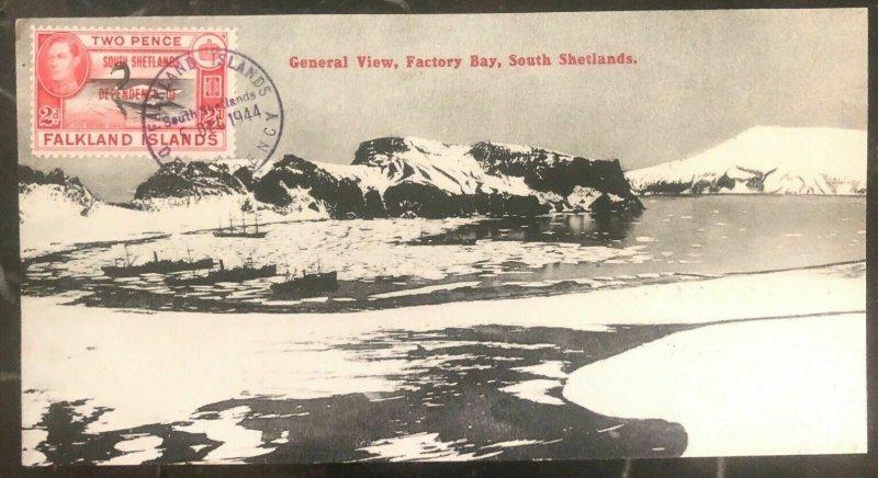 1944 Falkland Island Panoramic Postcard cover  Factory Bay South Shetlands View