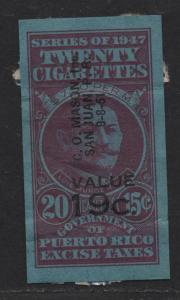 $US/Puerto Rico 1947 Cigarette Revenue 20 @ 15c, 19c o/p