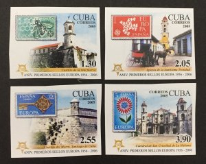 Cuba 2005 #4540-3 Imperforate, Europa 50th Anniversary, MNH.