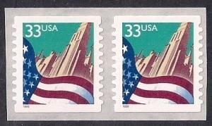 #3282 33 cent Flag over City, Coil Pair, Stamp Mint OG NH VF