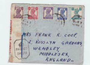 british india  1944 censor air mail madras to englsnd stamps cover ref r15375