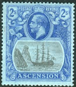 ASCENSION-1924-33 2/- Grey-Black & Blue/Blue lightly mounted mint example Sg 19