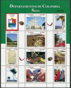 Colombia 1273 al sheet,MNH. Departments 2007.Sucre.Arms,Views.