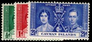 CAYMAN ISLANDS SG112-114, COMPLETE SET, NH MINT. CORONATION.