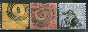 GR Lot 10440 Altdeutschland BADEN 1860 Michel 10 11 12 Freimarke Wappen Hintergr