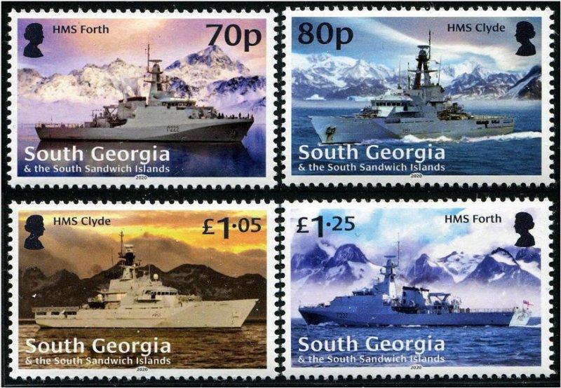 2020 South Georgia Royal Navy Ships ((4)  (Scott NA) MNH