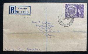1955 Mufulira Northern Rhodesia First Day Cover FDC To Salisbury centennial Exhi