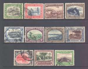 South West Africa SWA 1931 George V Various Values to 10/- used