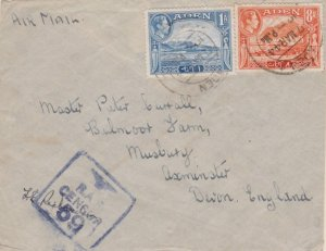 Aden 1a KGVI Aden Harbor and 8a KGVI Mukalla 1944 Aden Airmail to Axminster, ...