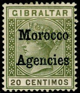 MOROCCO AGENCIES SG3, 20c olive-green & brown, UNUSED. Cat £23.