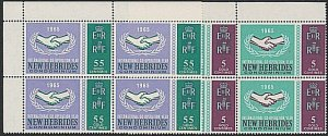 NEW HEBRIDES 1965 ICY set corner blks of 4 MNH.............................54820