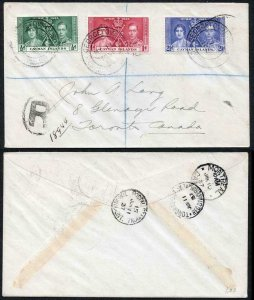 Cayman Is SG112/4 13 May 1937 Coronation FDC