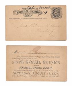 UX5 Postal Card 1877 Schulykill LIterary Society PA Manuscript Pen Cancel