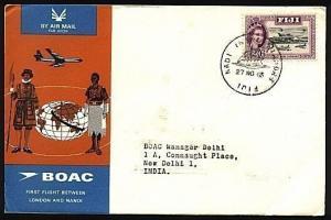 FIJI 1965 BOAC first flight cover Nadi to India............................22998