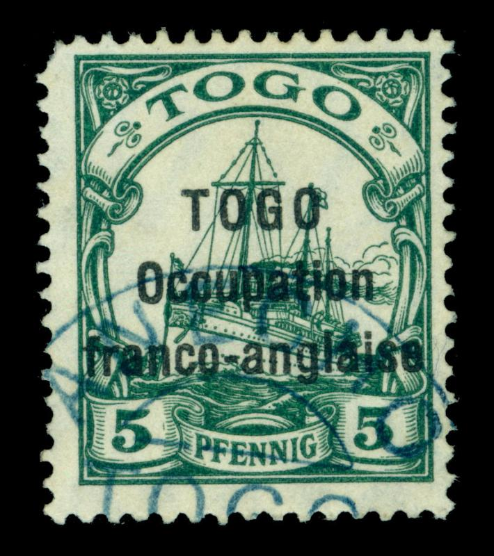 German Colonies - TOGO 1915  OCCUP. FRANCO-ANGLAISE Yacht 5pf grn Sc# 165 scarce
