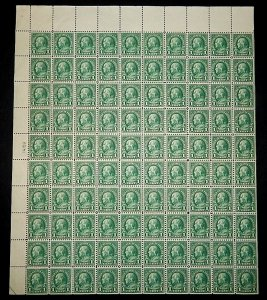 MINT SHEET - #552 1c Franklin.....VF og NH -- TOP w/PLATE # MISSING!! UNIQUE?