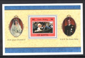 St Kitts 429 Queen Elizabeth II Golden Wedding Souvenir Sheet MNH VF