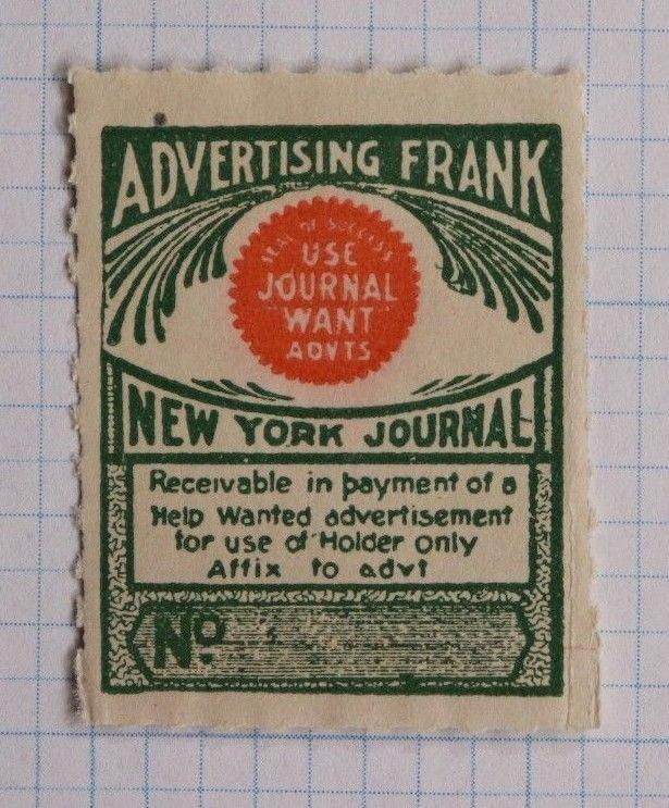 Advertising Frank Want Ad Fee pre-paid service Help Wanted NY Journal Newspaper