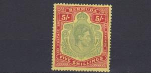BERMUDA  1938 - 53  S G  118D   5/-   VALUES        LMH