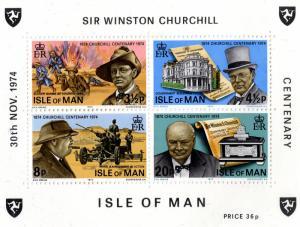 Isle of Man #51a MNH S/S CV$1.10 Churchill Bugler Dunne Douglas Scroll