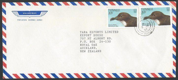 TUVALU 1992 commercial cover, 20c Bird (2) Funafuti to New Zealand.........14125