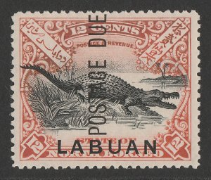 LABUAN : 1901 'Postage Due' on Crocodile 12c black & vermilion, perf 13½-14.
