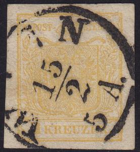 Austria - 1854 - Scott #1d - used - Machine-made paper