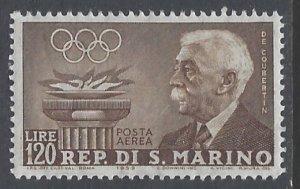 San Marino, Scott #C106; 120l Pierre de Coubertin, MH