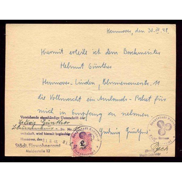 Germany 1948 Hannover Municipal Revenue Document