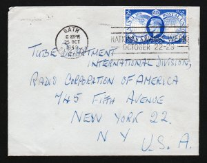 GREAT BRITAIN COVER 1949 STAMP - 2.5D UPU BATH SOMERSET TO RCA NYC SLOGAN
