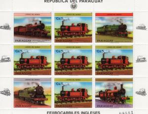 Paraguay British Locomotives Mini Sheet (5) + (4) labels Perforated mnh.vf