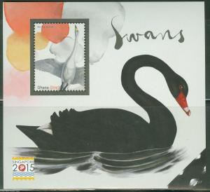 GHANA 2015 SWANS  S/SHEET ISSUED IN CONJUNCTION WITH SINGAPORE 2015   MINT NH