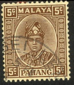 MALAYA PAHANG 1935-41 5c Sultan Abu Bakar Portrait Issue Sc 32 VFU