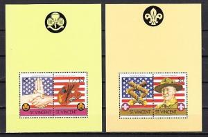 St. Vincent, Scott cat. 922-922a. 75th Scouting Anniversary s/sheets. *