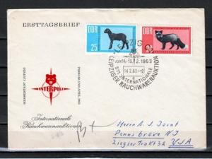 German Dem. Rep. Scott cat. 641-642. Sheep & Silver Fox issue. First day cover.