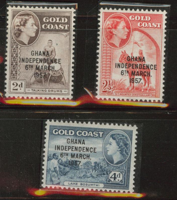 GHANA Independence overprint on Gold Coast set MNH**