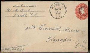 Virginia 1902 Hubble VA DPO 1901-3 Helbock R6 Cover Camp Rural Retreat 92454