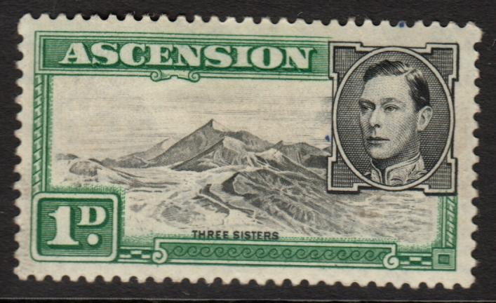 Ascension KGVI 1938 1d Black Green SG39d Mint Hinged