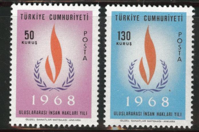 TURKEY Scott 1761-1762 MNH** 1968 stamp set
