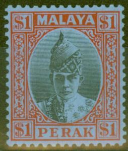 Perak 1940 $1 Black & Red-Blue SG119 Fine & Fresh Lightly Mtd Mint
