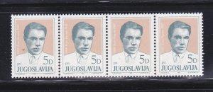 Yugoslavia 1661 Strip Of 4 Set MNH Koco Racin, Writer (B)