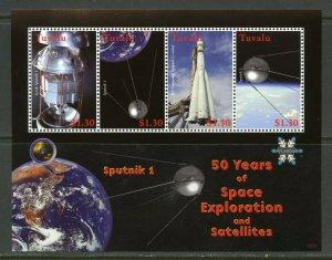 TUVALU  50 YEARS OF SPACE EXPLORATION & SATELLITES SPUTNIK I SHEET MINT NH