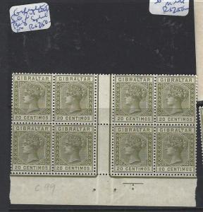 GIBRALTAR (P0504B)  QV 25C SG 24 GUTTER BL OF 8,  SPLIT PFS RT SIDE MNH