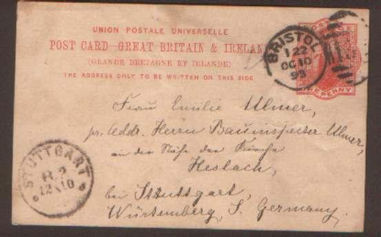 GB 1893 1d UPU postal card Bristol to Stuttgart Germany