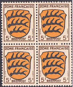 Germany - French Zone #4N3 MNH  Block of Four