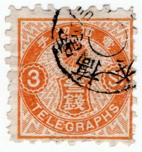 (I.B) Japan Telegraphs : 3sen Orange (1885)