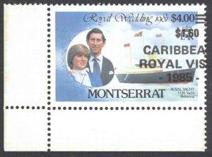 Montserrat Sc# 578 (MAJOR OVERPRINT SHIFT) MNH 1985 $1.60 Royal Visit