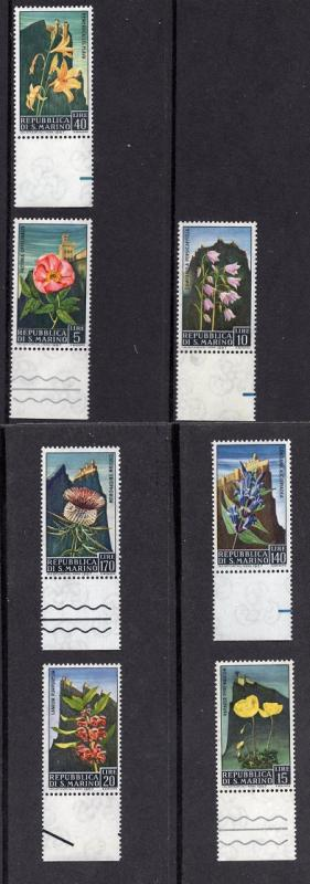 San Marino  #654-660  MNH 1967  flowers and views Mt Titano