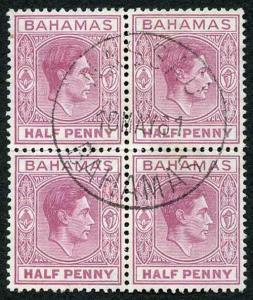 Bahamas SG149eb KGVI 1/2d brown-purple BLOCK St Edwards Crown ERROR in the Wmk