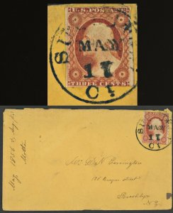 Sc #10 On Cover 1856 Connecticut to New York